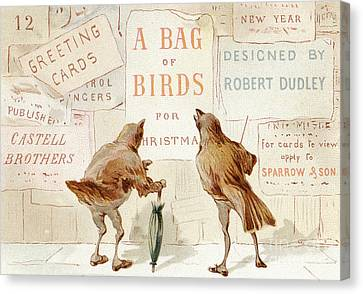 Christmas Cards Canvas Print - A Victorian Christmas Card Of Two Birds Looking At A Poster Of A Bag Of Birds For Christmas by English School