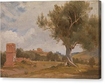 A View At Girgenti In Sicily With The Temple Of Concord And Juno By Charles Lock Eastlake, Circa 181 Canvas Print by Celestial Images