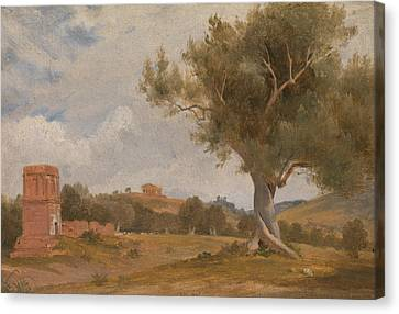 Concord Canvas Print - A View At Girgenti In Sicily With The Temple Of Concord And Juno by Charles Lock Eastlake