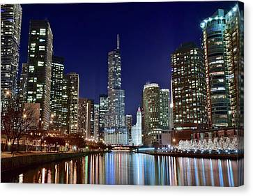 A View Down The Chicago River Canvas Print by Frozen in Time Fine Art Photography