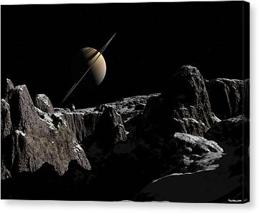Canvas Print featuring the digital art A View From Iapetus by David Robinson