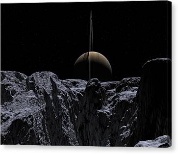 Canvas Print featuring the digital art A View From Rhea by David Robinson