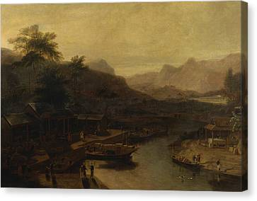 Chinese Landscape Canvas Print - A View In China - Cultivating The Tea Plant by William Daniell