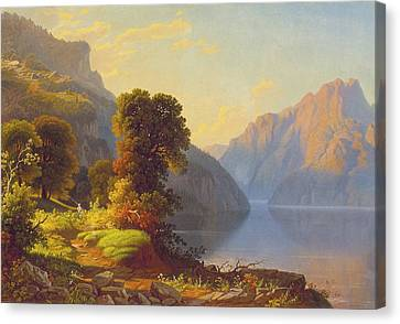 Seaside Heights Canvas Print - A View Of A Lake In The Mountainscirca 1856 by George Caleb Bingham