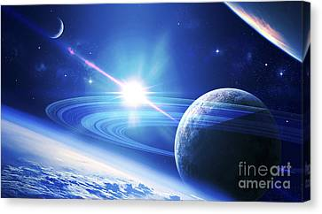 A View Of A Planet As It Looms In Close Canvas Print by Kevin Lafin