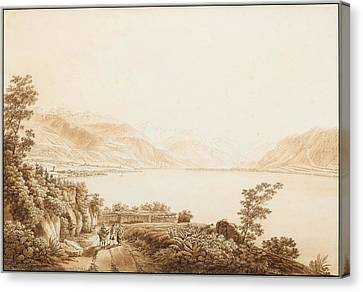 A View Of Lake Geneva Near Vevey. Canvas Print by Celestial Images