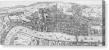 City Of Bridges Canvas Print - A View Of London In The Sixteenth Century by English School