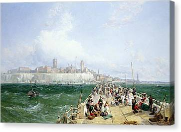 1868 Canvas Print - A View Of Margate From The Pier by James Webb