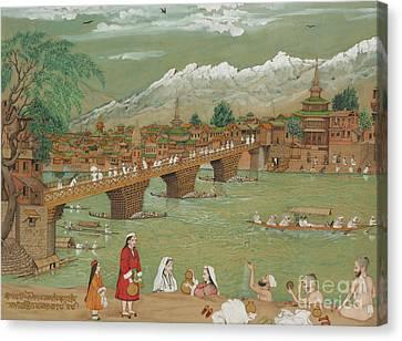 Colonial Man Canvas Print - A View Of Srinagar, 1872 by Bishan Singh