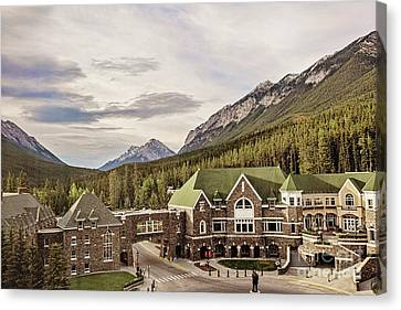 A View Of The Canadian Rockies From The Fairmont Hotel In Banff Canvas Print by Scott Pellegrin