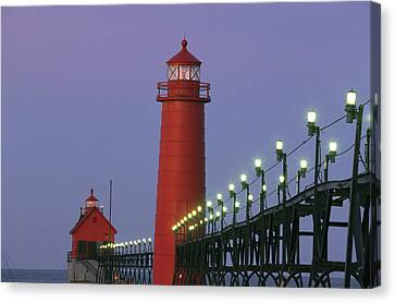 A View Of The Grand Haven Lighthouse Canvas Print by Ira Block
