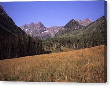 A View Of The Maroon Bells Mountains Canvas Print by Taylor S. Kennedy