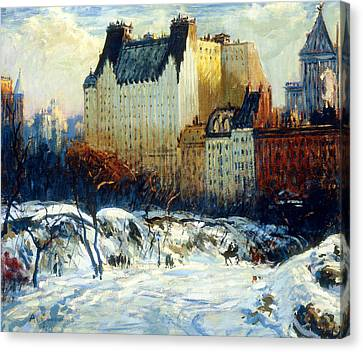 A View Of The Plaza From Central Park Canvas Print by Arthur Clifton Goodwin