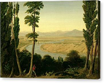 Italian Landscape Canvas Print - A View Of The Tiber And The Roman Campagna From Monte Mario by William Linton
