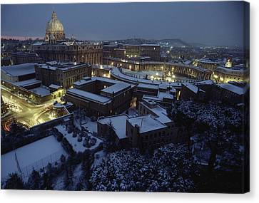 A View Of Vatican City In The Snow.  It Canvas Print by James L. Stanfield