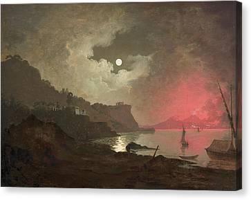 Italian Landscape Canvas Print - A View Of Vesuvius From Posillipo, Naples by Joseph Wright