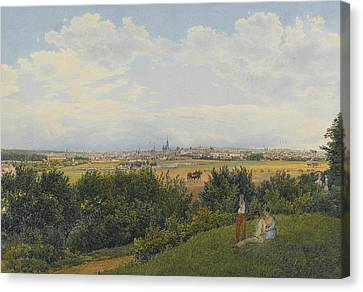 Landscape With Figure Canvas Print - A View Of Vienna From The Prater With Figures In The Foreground by Rudolph von Alt