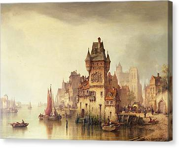 A View On The River Dordrecht Canvas Print by Ludwig Hermann