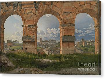 A View Through Three Of The North-western Arches Of The Third Storey Of The Coliseum  Canvas Print by Celestial Images