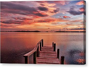 A View To The Bay - Sunset Clouds Canvas Print by HH Photography of Florida
