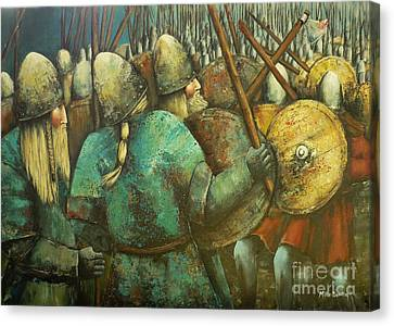 A Viking Skirmish Canvas Print by Kaye Miller-Dewing