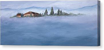 A Villa In The Mist Canvas Print by Mary Giacomini