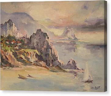 A Village Behind The Cliff Canvas Print by Tigran Ghulyan
