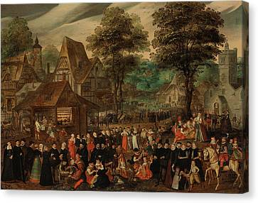 A Village Festival With Elegantly Dressed Figures In Procession Canvas Print