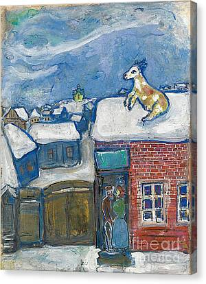 A Village In Winter Canvas Print by Marc Chagall