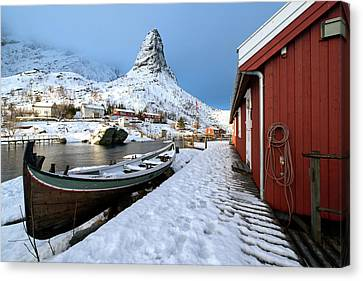 Canvas Print featuring the photograph A Village Lofoten by Dubi Roman