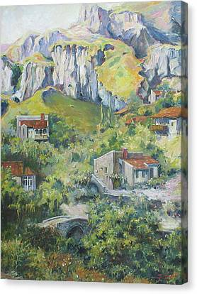 Canvas Print featuring the painting A Village Nestled In The Foothills by Tigran Ghulyan
