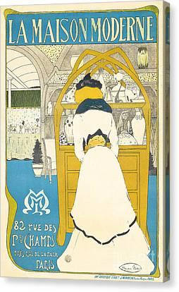 Ceramics Canvas Print - A Vintage Poster Advertising The Parisian Art Gallery La Maison Moderne by Maurice Biais