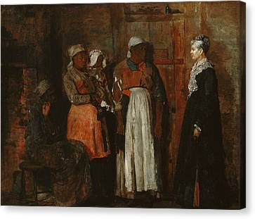 A Visit From The Old Mistress Canvas Print by Winslow Homer