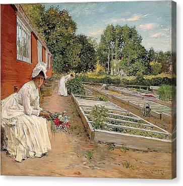 A Visit To The Garden Canvas Print by William Merritt