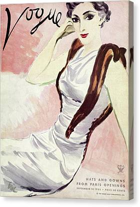 A Vogue Cover Of A Woman Wearing A Fur Stole Canvas Print