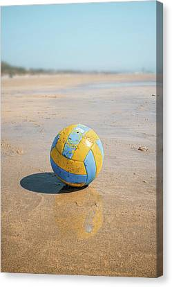A Volleyball On The Beach Canvas Print by Carlos Caetano