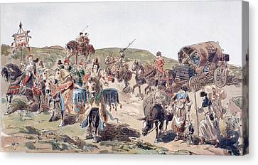 A Wagon Travelling With Escort In The Canvas Print