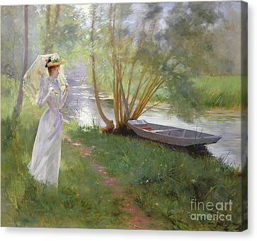 1890 Canvas Print - A Walk By The River by Pierre Andre Brouillet