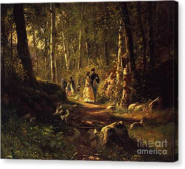 A Walk In A Forest, 1869  Canvas Print by Ivan Ivanovich Shishkin