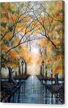 A Walk In The Park - Autumn Canvas Print by Janine Riley