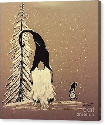 A Walk In The Snow Canvas Print by Ginny Youngblood