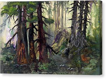 Canvas Print featuring the painting A Walk In The Woods by Sherry Shipley