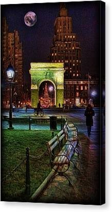 A Walk In Washington Square Canvas Print by Lee Dos Santos