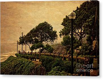 Canvas Print featuring the photograph A Walk On The Edge - Peru by Mary Machare