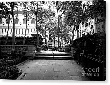 Canvas Print featuring the photograph A Walk Through Bryant Park by John Rizzuto