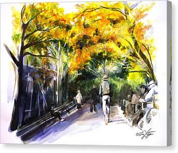 A Walk Through The Park Canvas Print by Liz Viztes