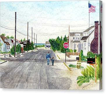 A Walk With Grandpop, Long Beach Island,  New Jersey Canvas Print
