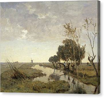 A Watercourse Near Abcoude Canvas Print by Paul Gabriel