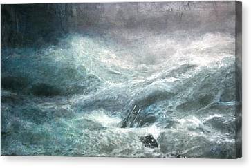 Canvas Print featuring the painting a wave my way by Jarko by Jarmo Korhonen aka Jarko