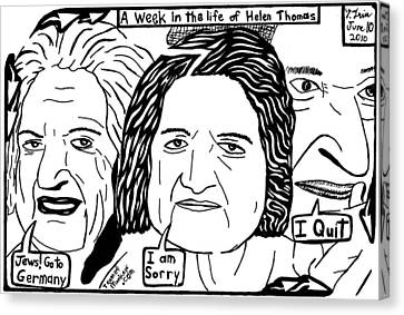 A Week In The Life Of Helen Thomas By Yonatan Frimer Canvas Print by Yonatan Frimer Maze Artist